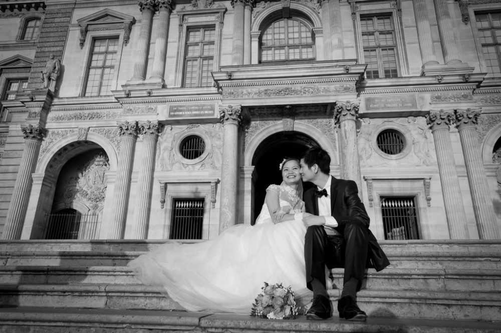 Paris Photographer Wedding photography Louvre steps Paris