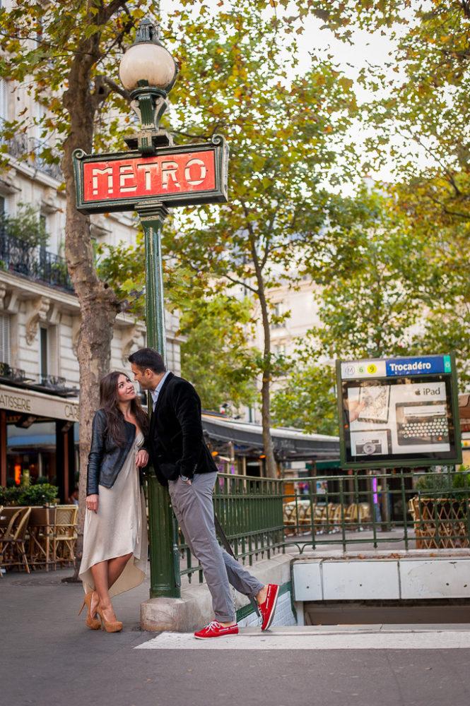 paris engagement photos couple photography at metro paris
