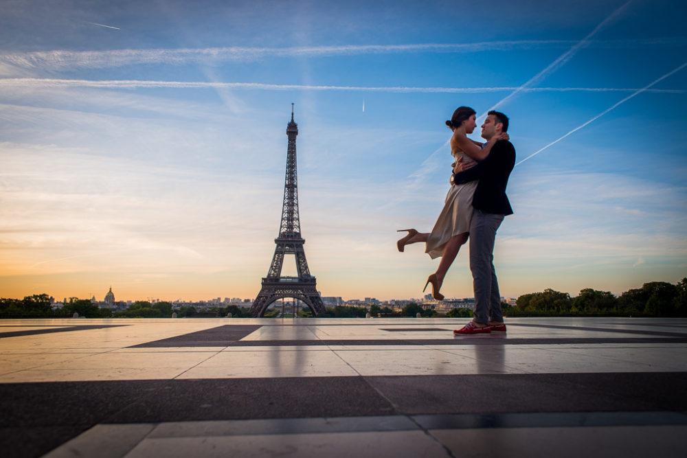 Paris engagement photos couple at Eiffel Tower