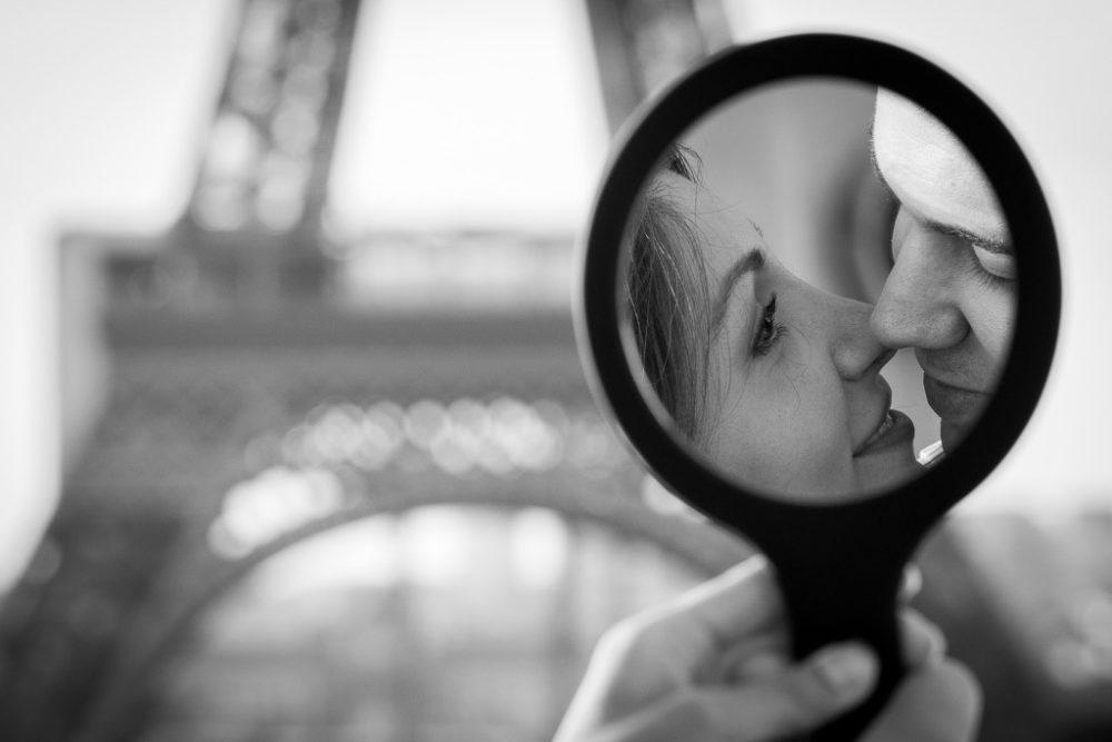 Paris engagement photographer creative photo Eiffel Tower