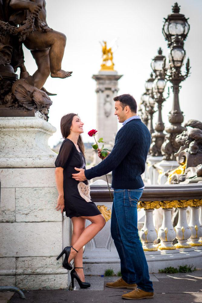 Paris engagement photographer couple on alexander 3 bridge