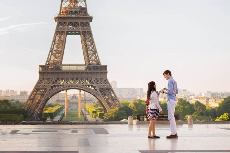 Putting on engagement ring after Proposal in Paris at the Eiffel Tower