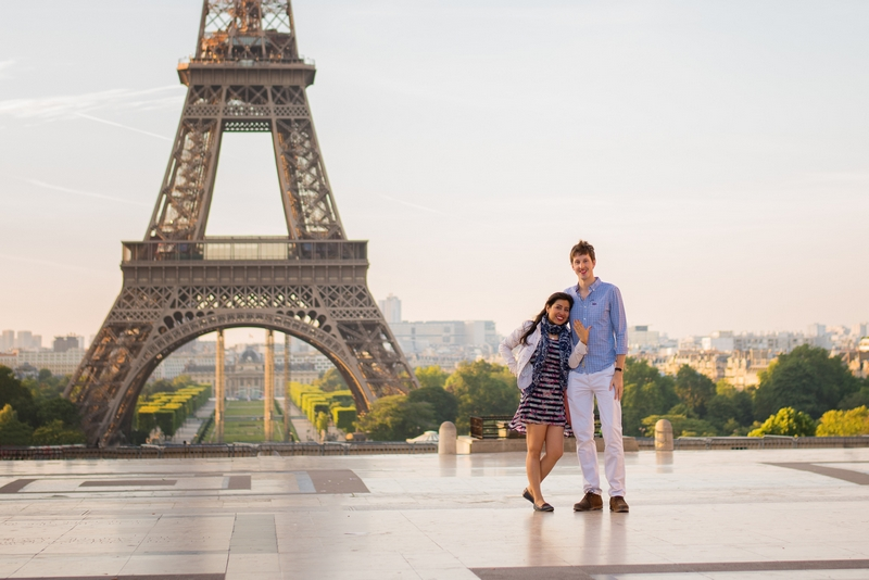 Sunrise surprise proposal at the Eiffel Tower in Paris