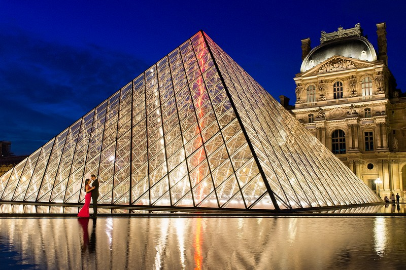 Blue hour night photo Louvre Museum Paris photographer