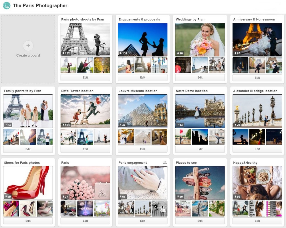 Inspiration board for Pais photographer on Pinterest