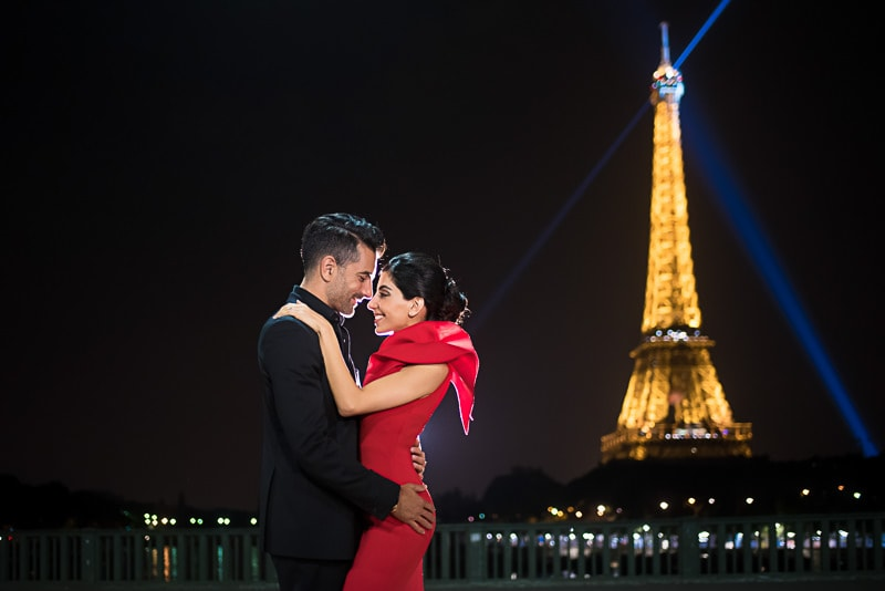 Night engagement photos in Paris at the Eiffel Tower