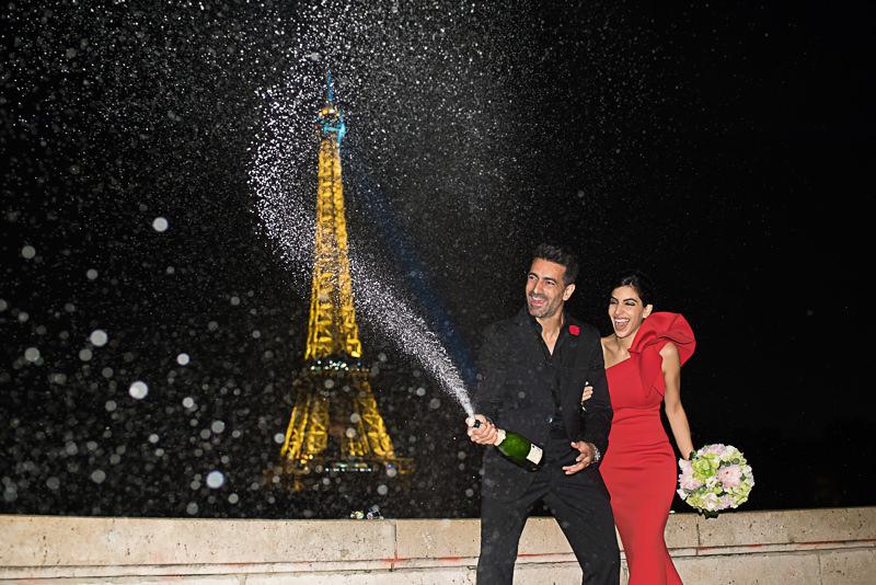 Champagne shower celebrating engagement in Paris