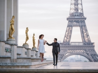 Photographs of couples walking hand in hand at Trocadéro in paris