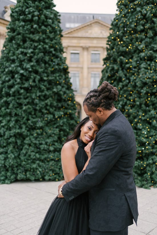 Romantic and cute couple photo shoot in Place Vendome with a beautiful couple from Virginia, US