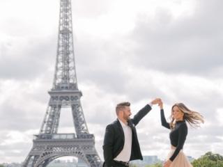 Gorgeous couple dancing in Paris