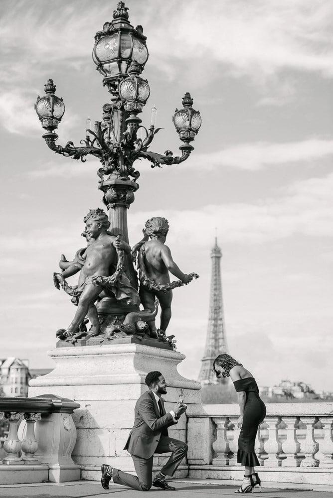 paris photo locations – alexander 3 bridge view over Eiffel Tower