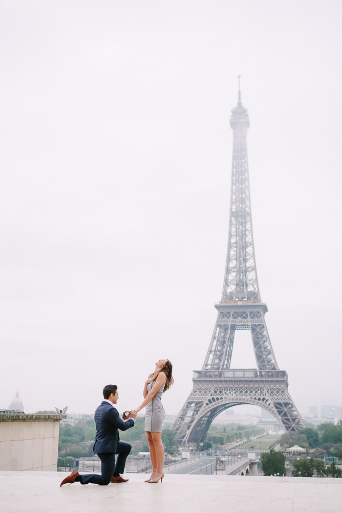 Real life surprise proposal at the Eiffel Tower in Paris