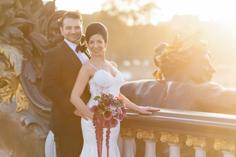 Hotel Crillon Paris wedding – Alexander 3 bridge portraits -4