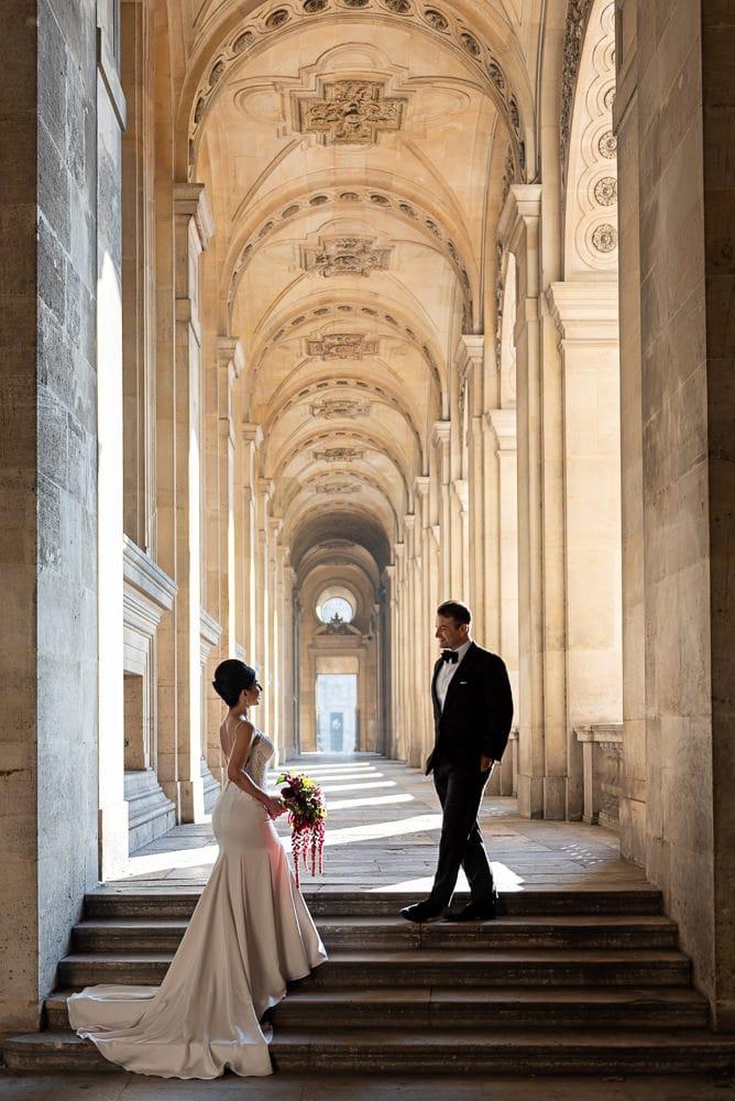 Hotel Crillon Paris wedding – Louvre Museum portraits -3
