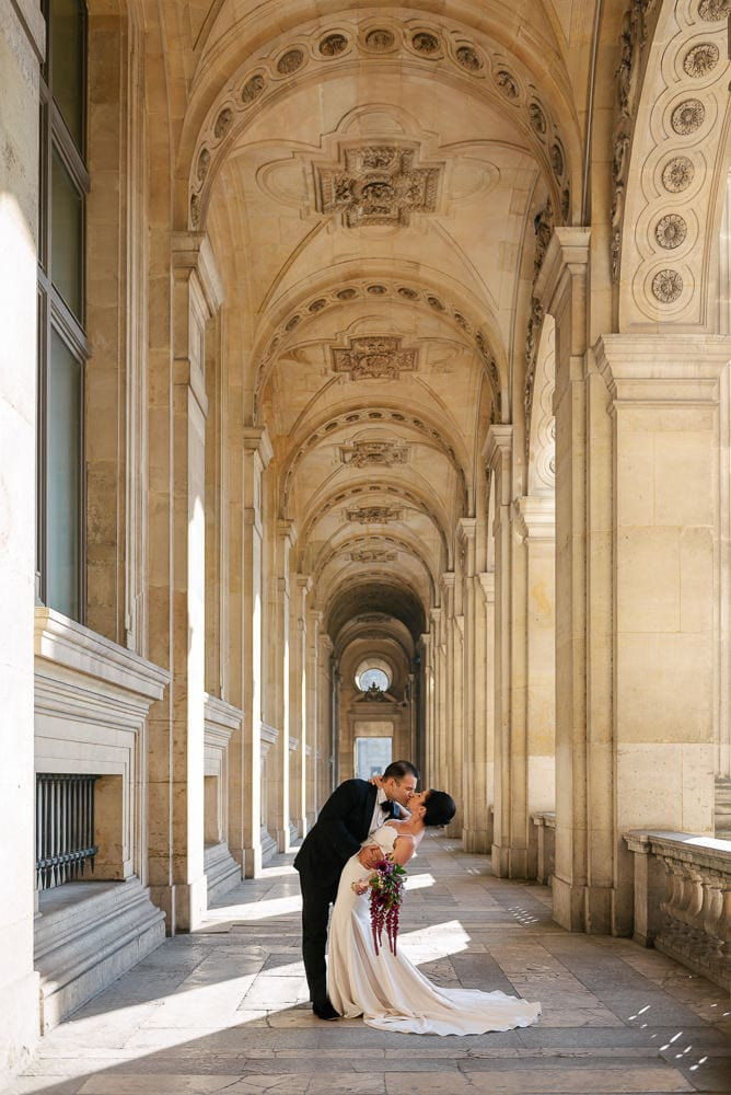 Hotel Crillon Paris wedding – Louvre Museum portraits -4